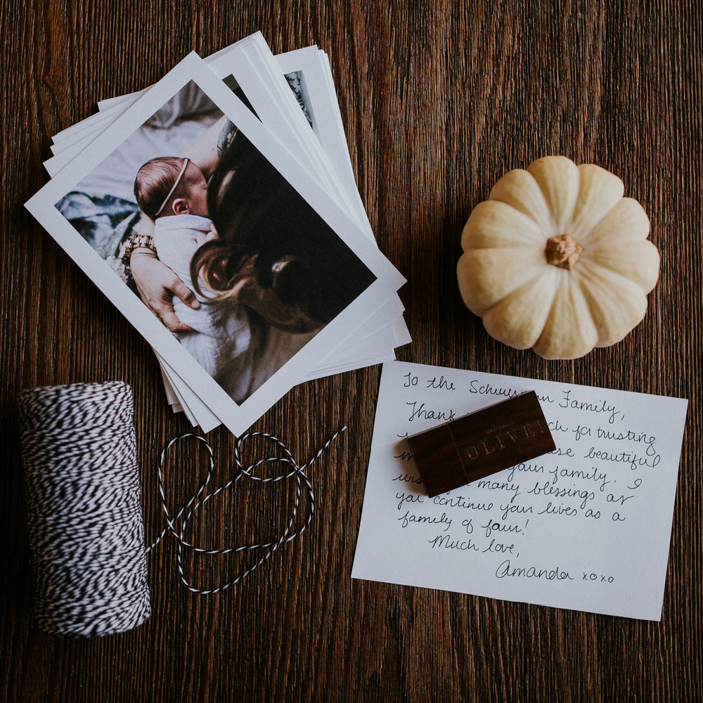 Photo prints and wood USB packaging with twine and personal note - Stouffville newborn photography