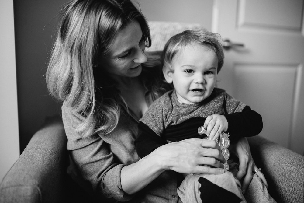 Mom and 2 year old toddler son on chair {Toronto Family Photographer}