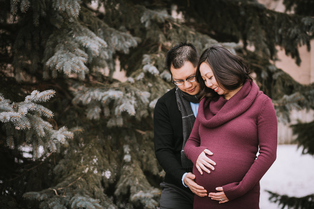 husband and wife hold and admire woman's pregnant belly - Markham lifestyle photography