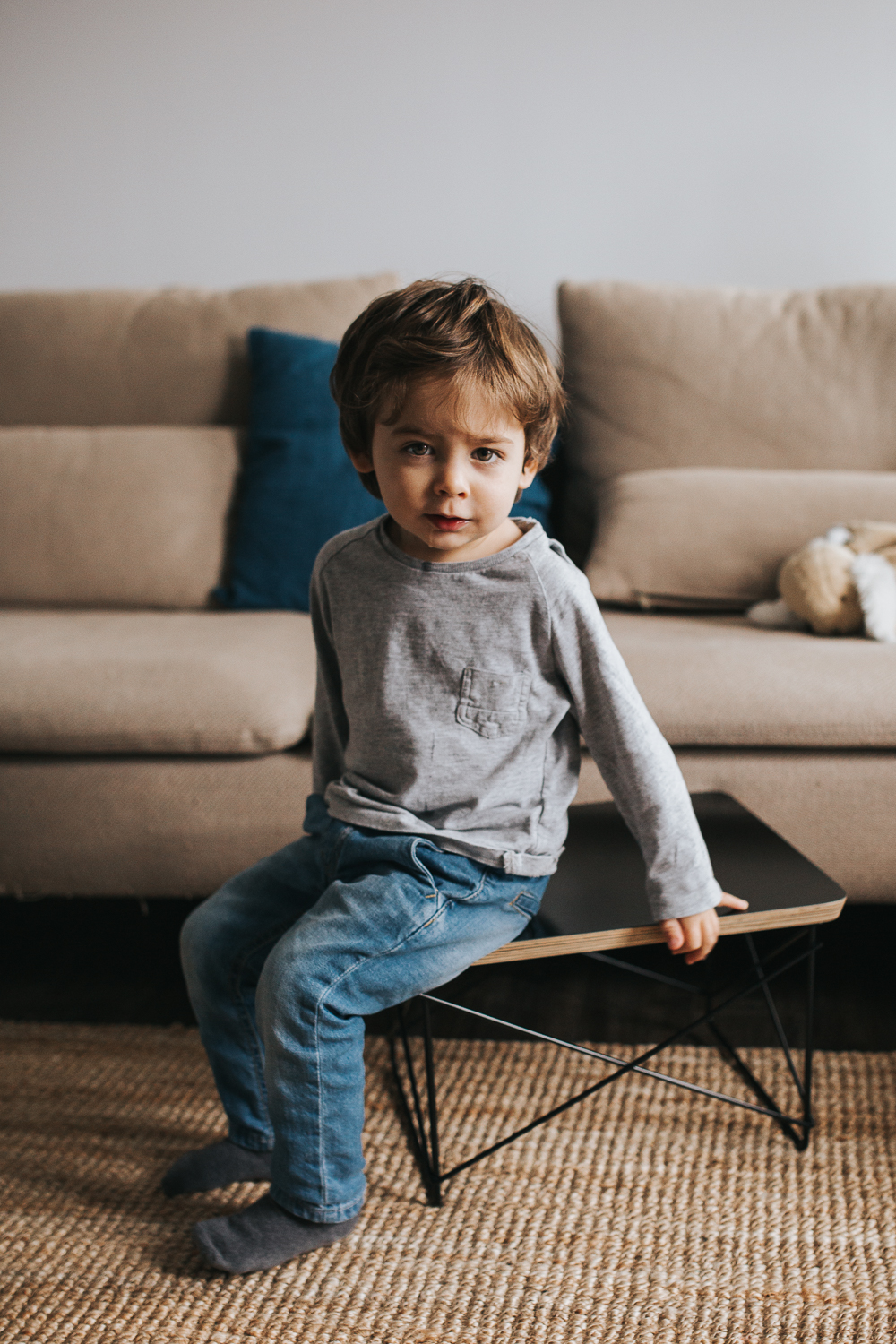 2 year old brunette toddler boy sitting on table looking at camera - stouffville family photos