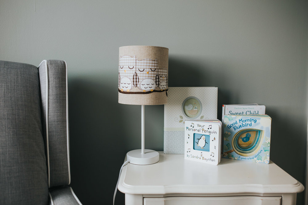 green nursery details, nightstand - Stouffville lifestyle photos
