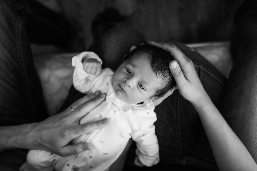 10 day old baby girl lying awake in mom and dad's laps - Markham Lifestyle Photos
