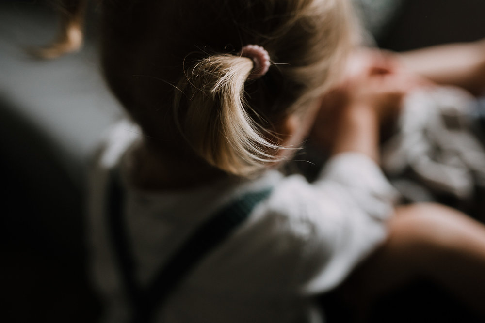 close up of 2 year old toddler girl's blonde pigtail - Stouffville In-Home Family Photos