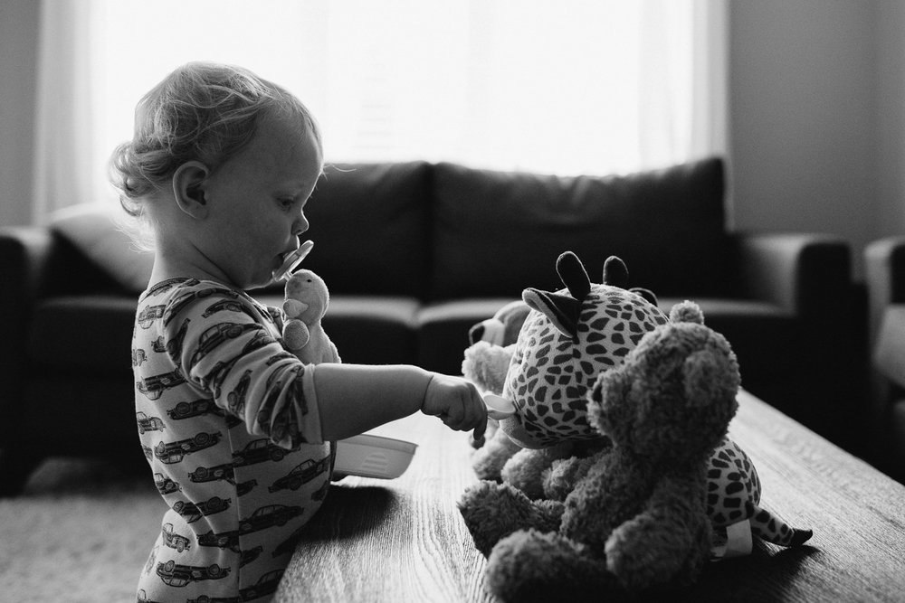blonde 18 month old boy pretending to feed stuffed animals lined up on table - Newmarket Documentary Photography