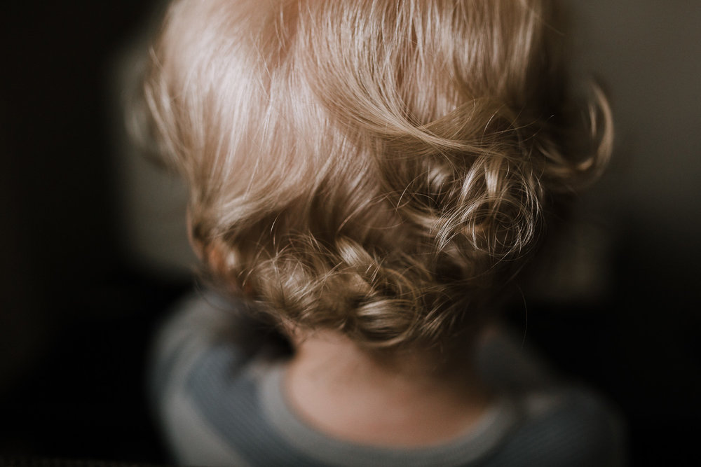 close up of 18 month old boy's blonde curls on the back of his head - Newmarket Documentary Photographer