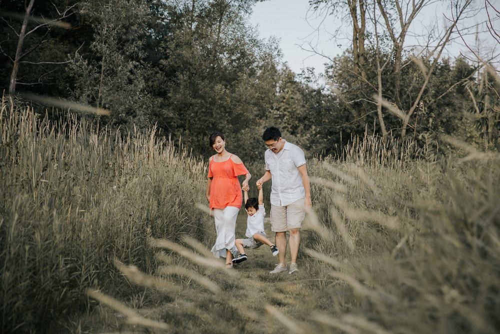 family of 3 walking down trail between long grasses and swinging toddler boy between them, everyone smiling - GTA Lifestyle Photography