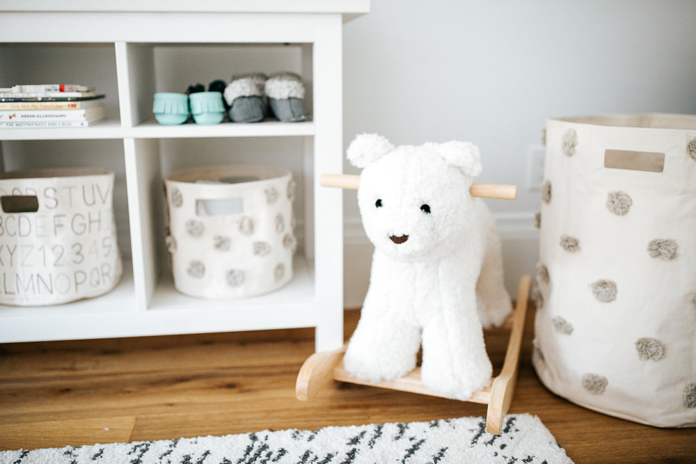 neutral grey and white nursery details, white rocking bear in corner - Markham In-Home Photos