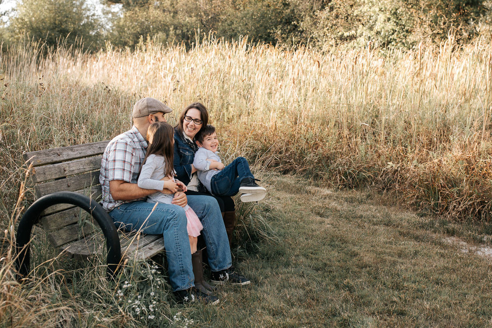 family of 4 sitting on park bench surrounded by tall grasses, 5 year old girl sitting on dad's lap, 4 year old boy in mom's lap smiling - Barrie Lifestyle Photography