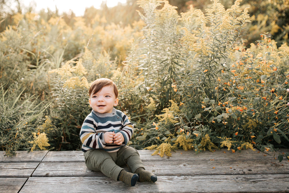 1 year old baby boy with brown hair wearing striped sweater sitting on wooden bench in front of yellow flowers, smiling, hands clasped  setting sun behind him - Stouffville Golden Hour Photography