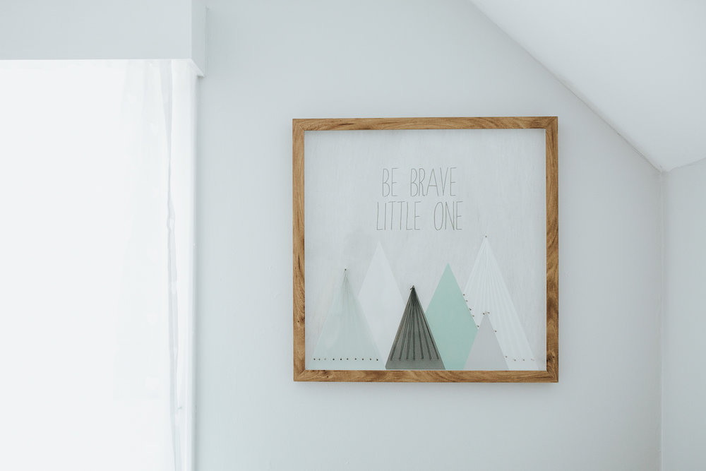 light blue nursery details, artwork - York Region In-Home Photos