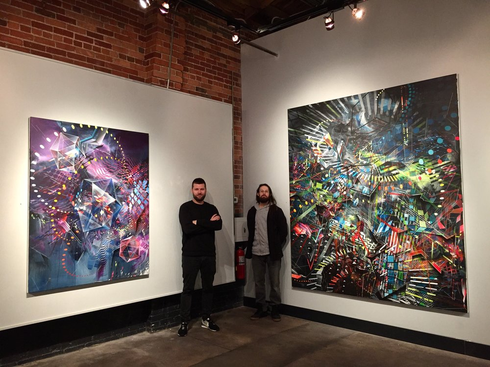 "Ryan Connell from Knew Conscious Gallery and myself at the ""11/11 Two of a Kind"" exhibition. November 2017"