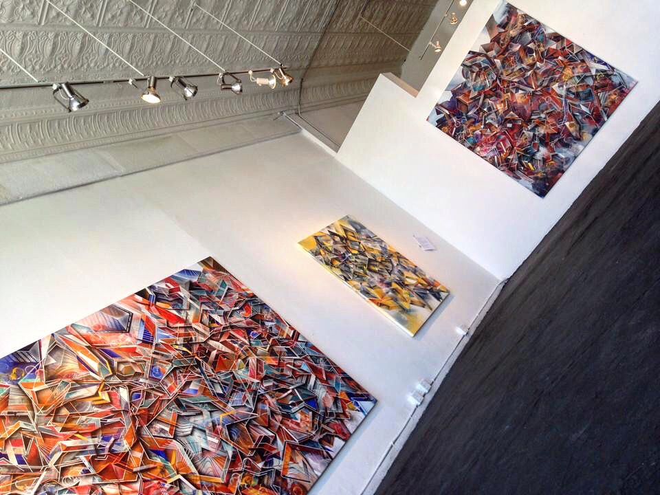 "3 paintings at Cave Gallery in 2014, the ""Remix Every Second"" exhibition."
