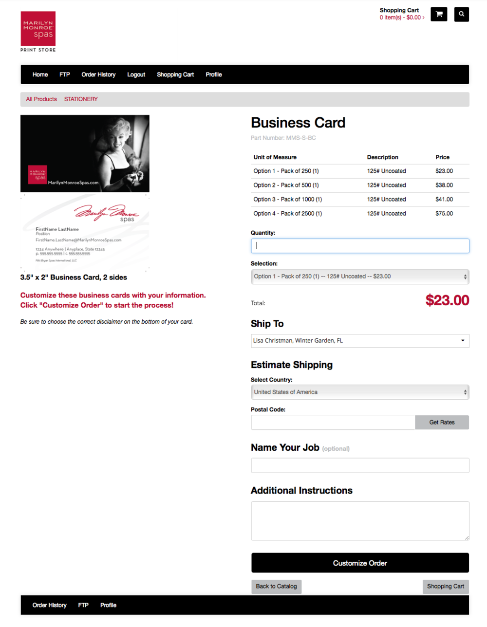 Example: Purchasing Business Cards