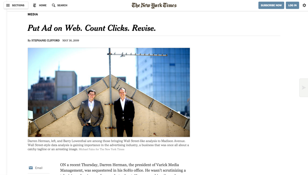 The New York Times: Put Ad on Web. Count Clicks. Revise.