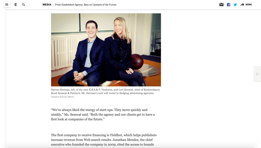 The New York Times:  From Established Agency, Bets on Upstarts of the Future