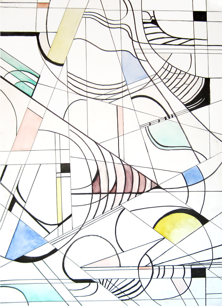 """""""music"""" by c.m. jenks Oil and marker on paper 20""""x30"""