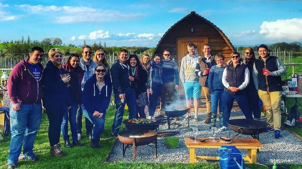A great group of glampers staying in the Vineyard Wigwams! Beautiful evening for a reunion with your friends! #somersetsgreatescape #secretvalley #glamping #wigwams #greatoutdoors.jpg