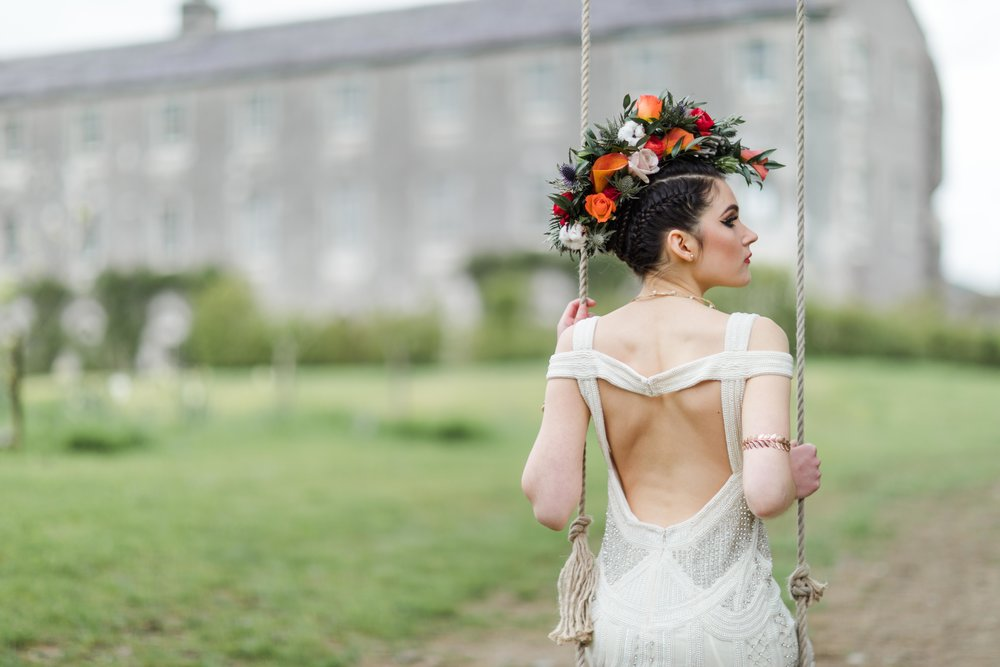 Photography:  Katya Koliban Photography  |   Styling:  Blaithin O'Reilly Murphy at TheWeddingExpert.ie  |   Dress:  Que Va by Caoimhe Keane  |   Make Up:  efcreativestudios.com  |   Hair:  bridalhairandmakeup.ie  |   Jewellery:  veronicaroden.ie  |   Flowers:  weddingflowersbyjosephine.ie  |   Accessories:  Jenny Vanders  |   Location:  Aghavannagh Barracks  |   Model:  Julija