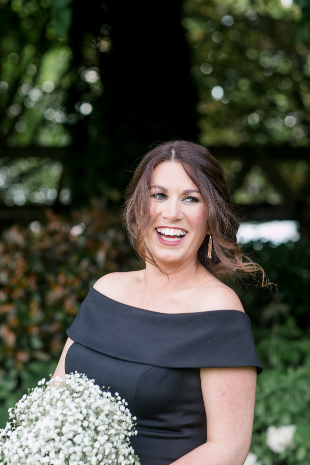 Bridesmaid dress off shoulder black slieve russell hotel