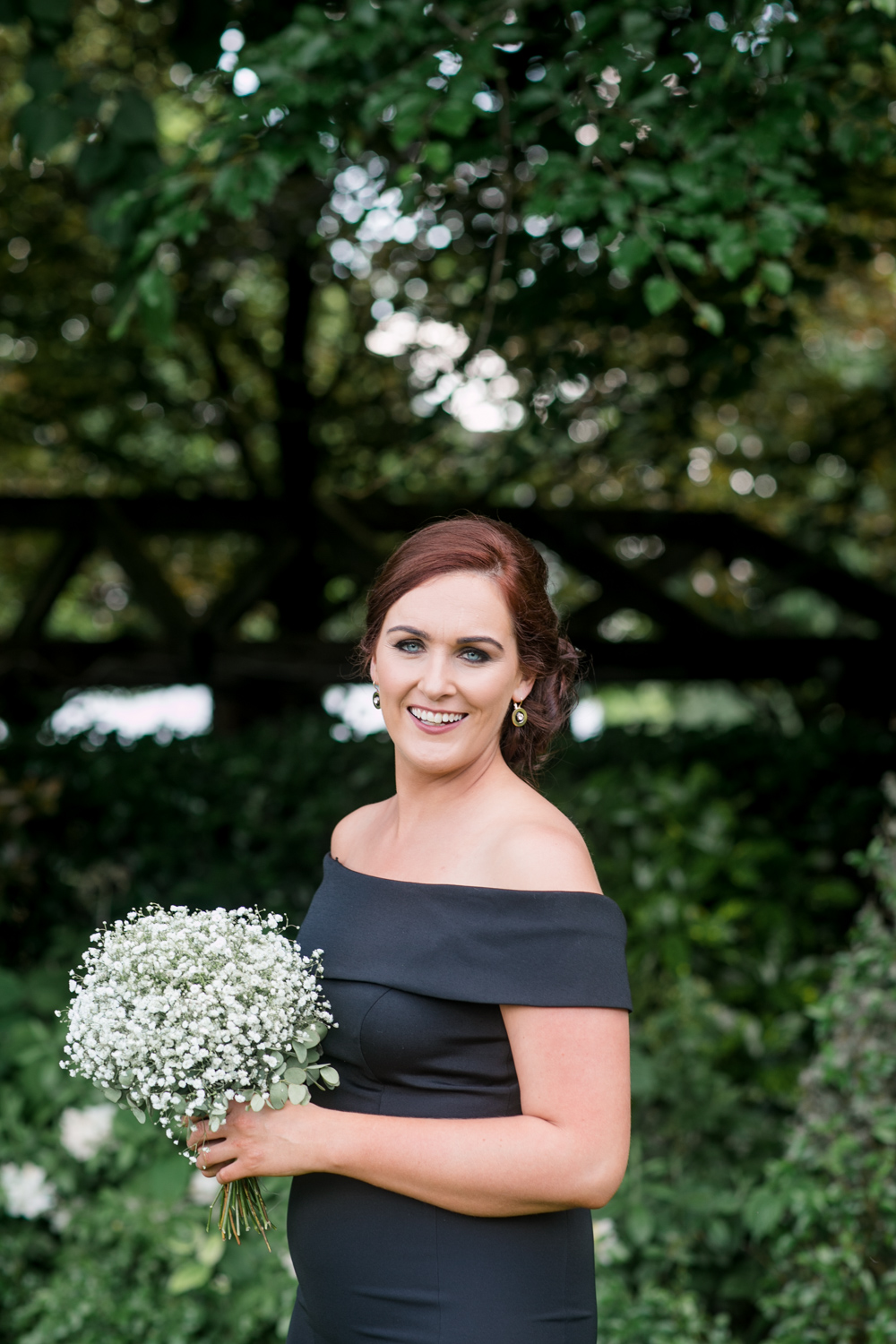 bridesmaid black dress for the black tie wedding off shoulder style