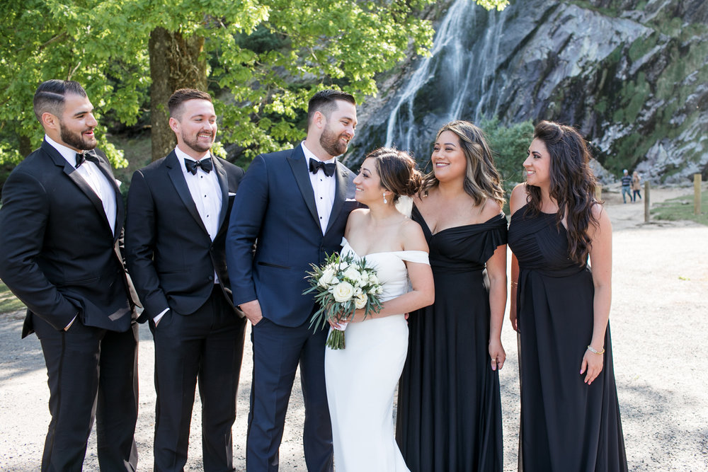 bride and groom and the bridal party in their black tie outfits standing with powerscourt waterfall in the background