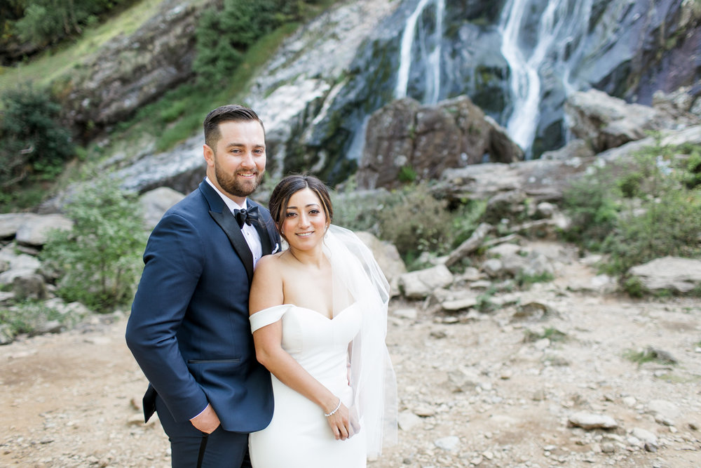 elopement in ireland at the powerscourt waterfall in wicklow with a black tie elegant theme