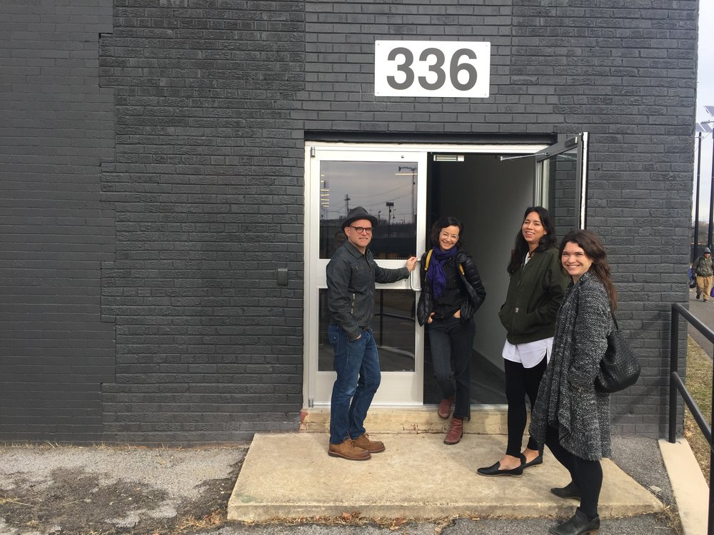 A group of award-winning local artists are developing this space in the District's Eckington neighborhood, where they plan to offer affordable studio and exhibit space with the goal of redefining the city as an arts scene. From left to right, Tim Doud, Linn Meyers, Caitlin Teal Price and Rebekah Pineda. (Marvin Joseph/The Washington Post)
