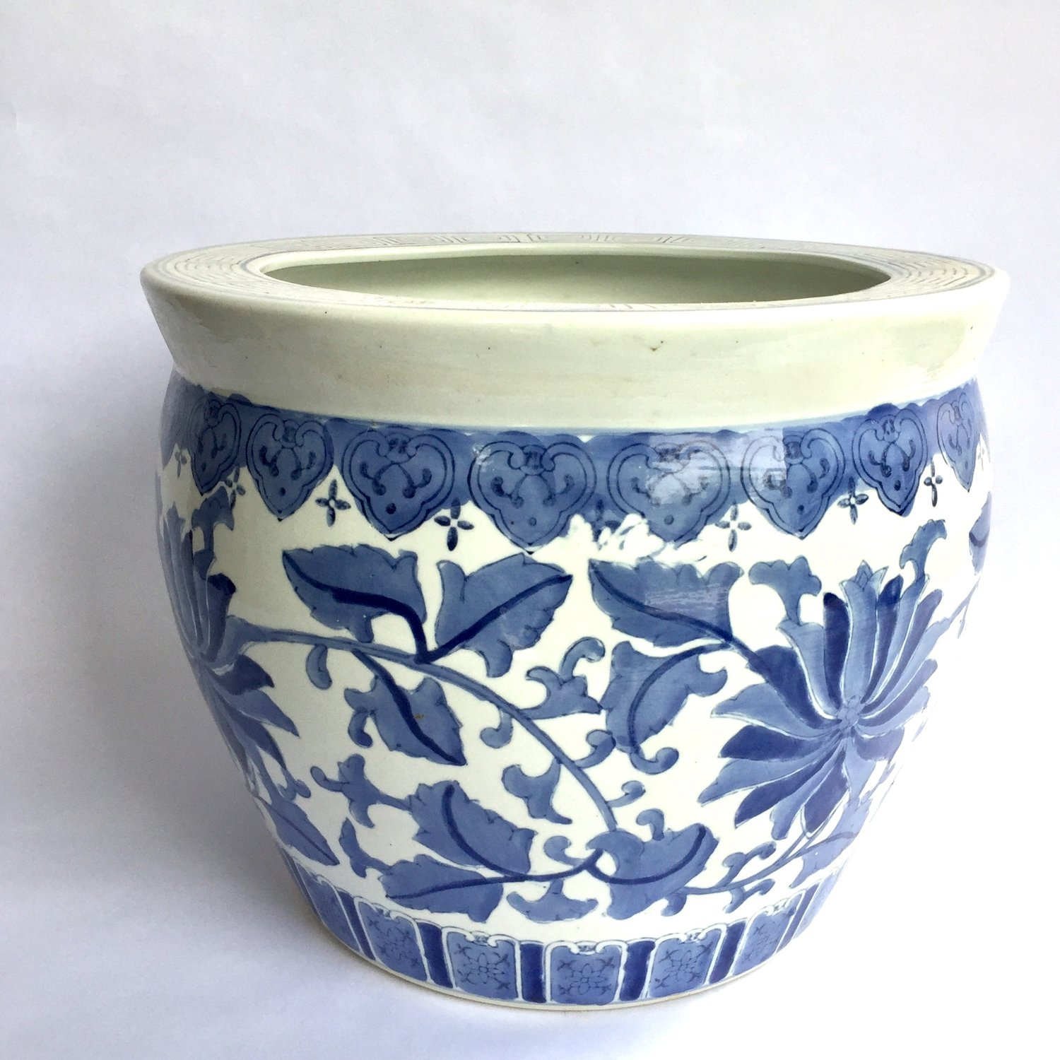 The Vintage Laundry Large Blue And White Chinoiserie Planter