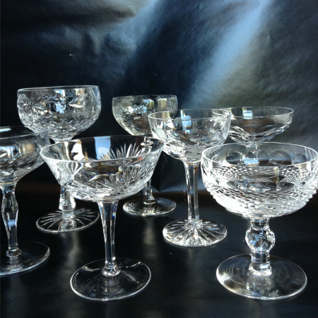 200+ VINTAGE CRYSTAL CHAMPAGNE COUPES