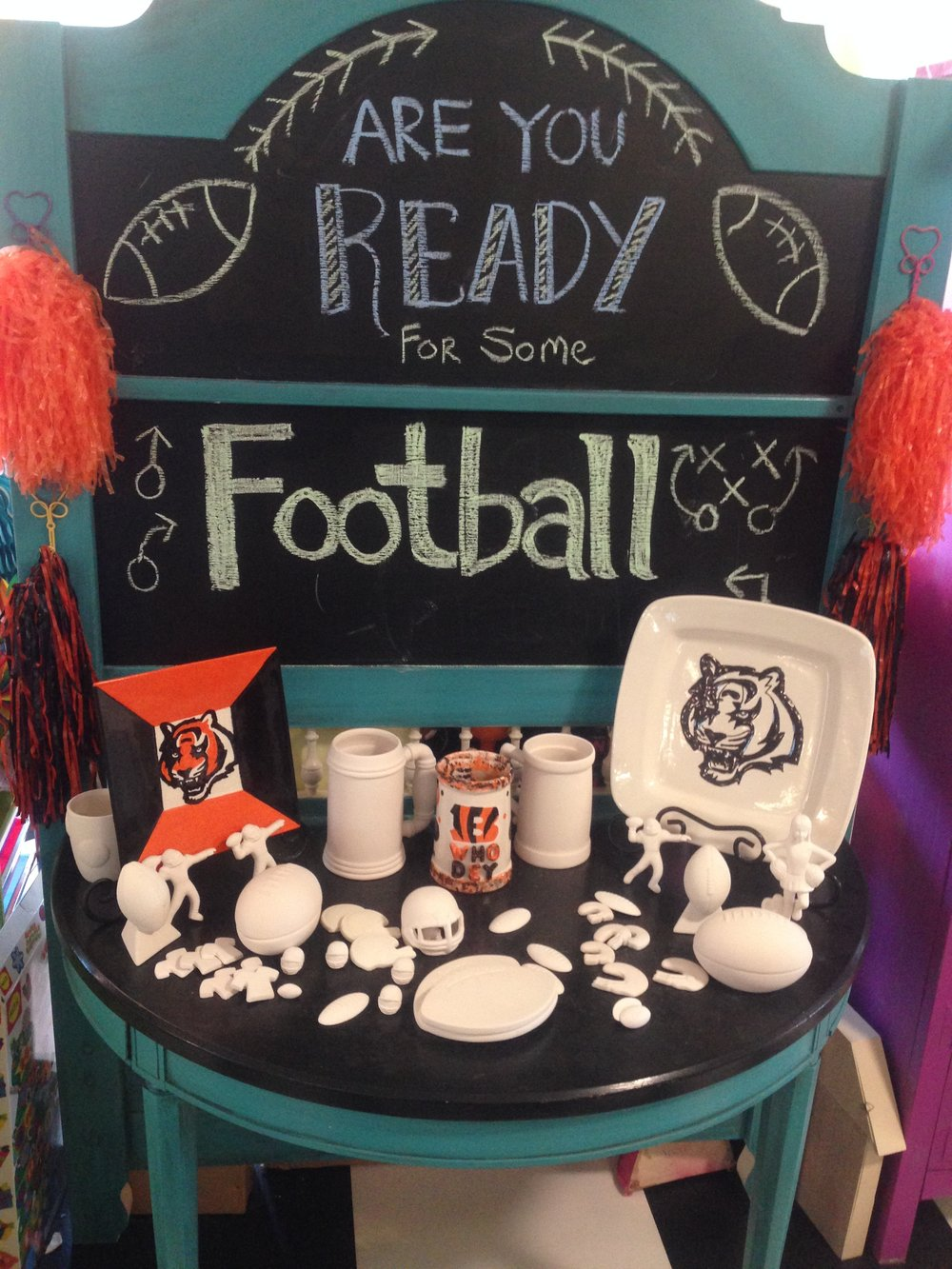 Football Season Is Finally Here!!! Come On In And Paint Something Up Of  Your Favorite Team!...Who Dey! :)