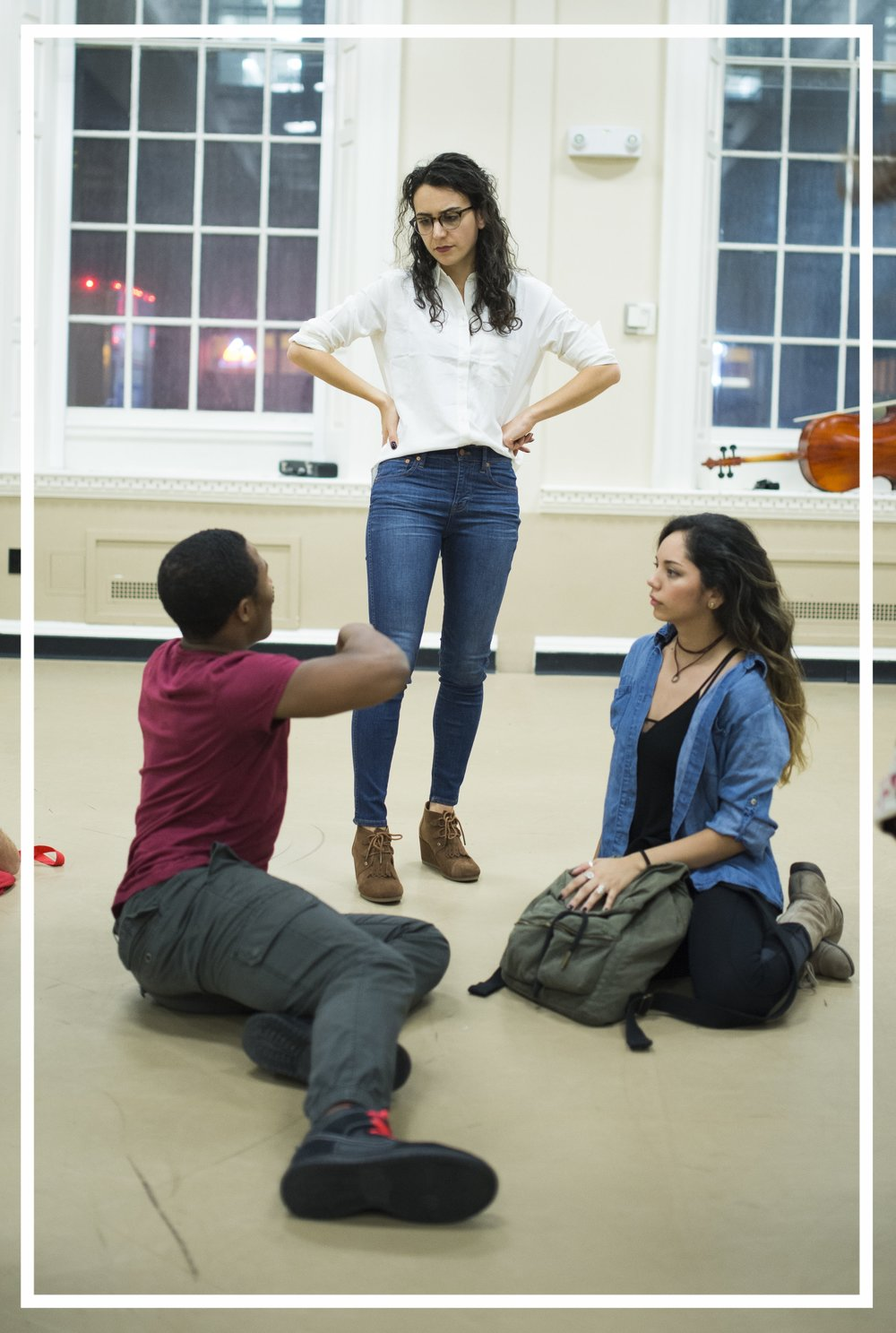 In rehearsal with Jesus (Daniel Yearwood) and Mary (Mili Diaz) .
