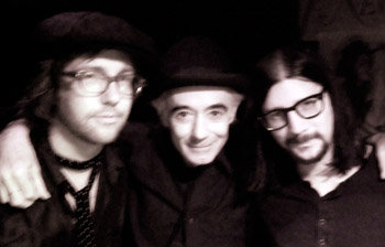 "Me, the great BP Fallon and ""Little"" Jack Lawrence in a basement in NYC."