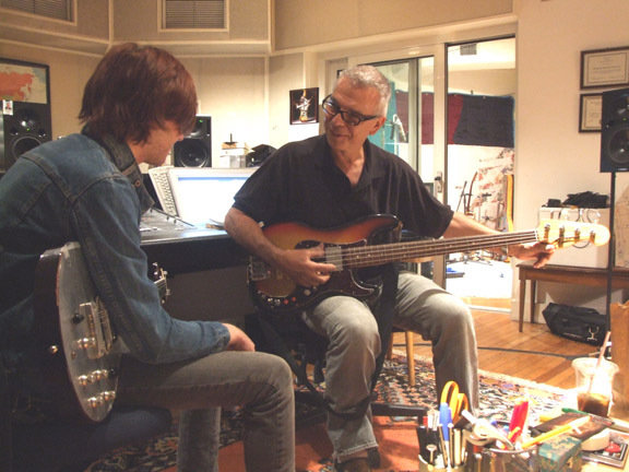 Me and Tony Visconti at Looking Glass Studios recording with Semi Precious Weapons.