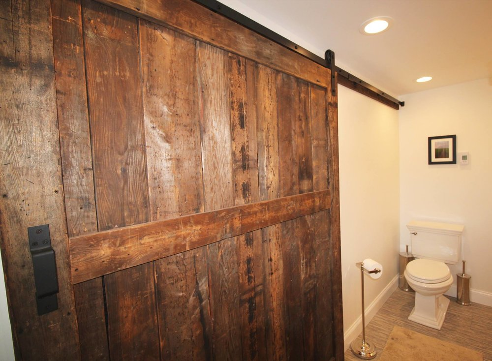 Bathroom with Sliding Barnwood Door
