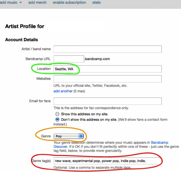 Bandcamp Artist Profile for Tagging
