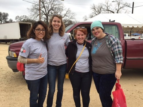 VISTA members Karyssa Zavala, Rebecca Birkholz, Laura Poe, and VISTA Program Manager Annabel Osburn at the 2017 MLK Day of Service Event.
