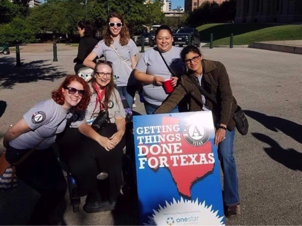 Local AmeriCorps members supporting their chapter at the Texas State Capitol on April 3.
