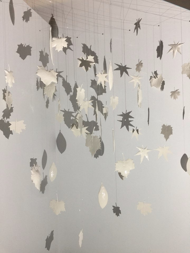 Leaves, Mixed media, slip cast ceramics, clear strings, video, Size variable, 2016