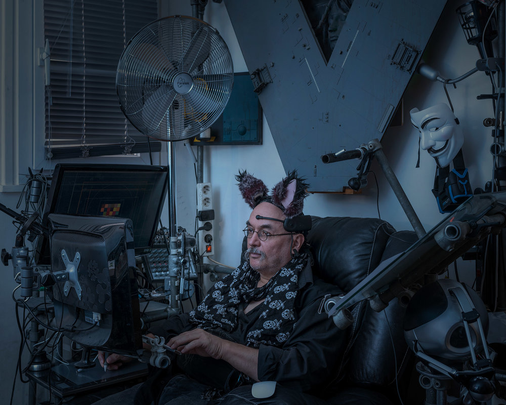 "Yann Minh, born 1957, is a protean artist specializing in cyberculture and persistent worlds. Here he is seen in his ""Nooscaphe."" He often describes himself as a ""nooconteur"" (a cyberspace raconteur) or a cyberpunk exploring cyberspace and the noosphere (the sphere of human reflection and, by extension, the Internet, which connects humanity through artworks, thought, etc.). He has won several awards for his creations in the areas of contemporary art and cyberculture. His futuristic, transhumanistic world mixes eroticism and science fiction.  Paris, June 16, 2016"