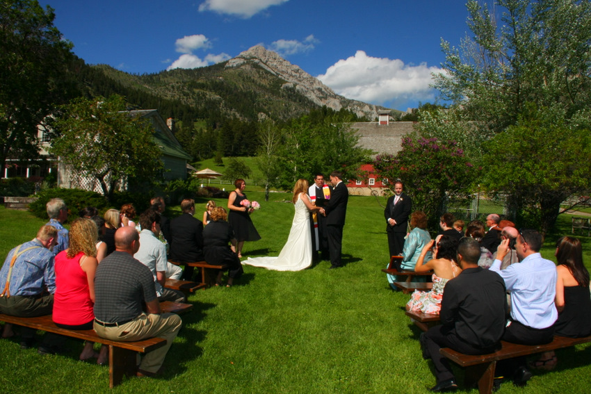 Wedding at base of mountain
