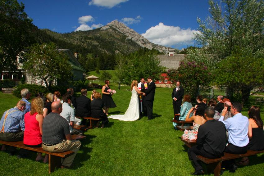 Wedding at base of mountain