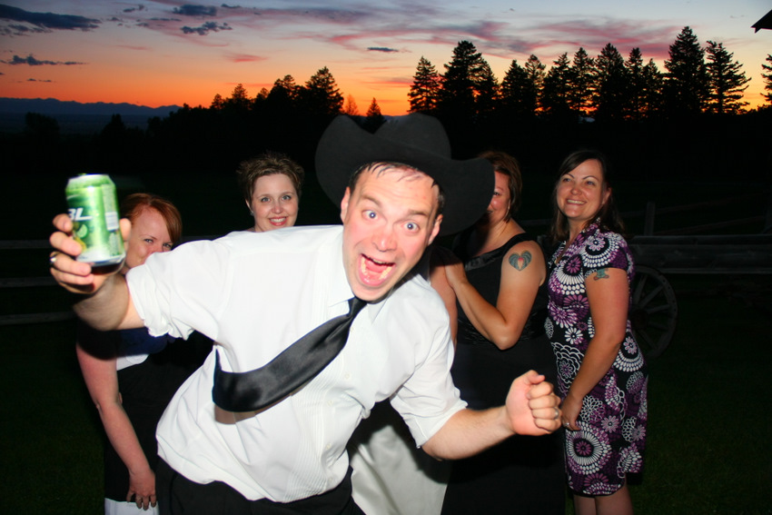 Drunk groom running in front of camera