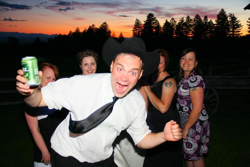 Drunk groom running in front of camera