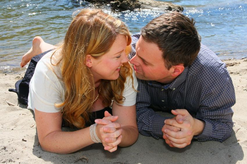engagement portrait couple by river
