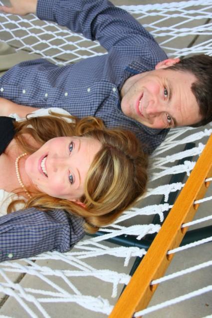 engagement portrait couple in hammock