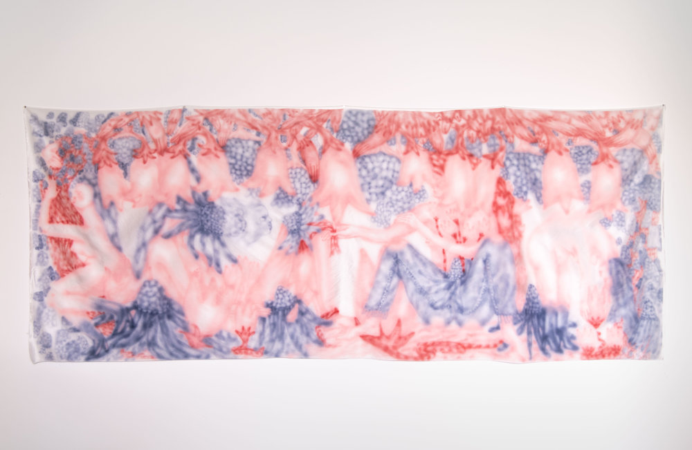 """Old Orchard , Airbrushed Silk, 115"""" x 45"""", 2018"""