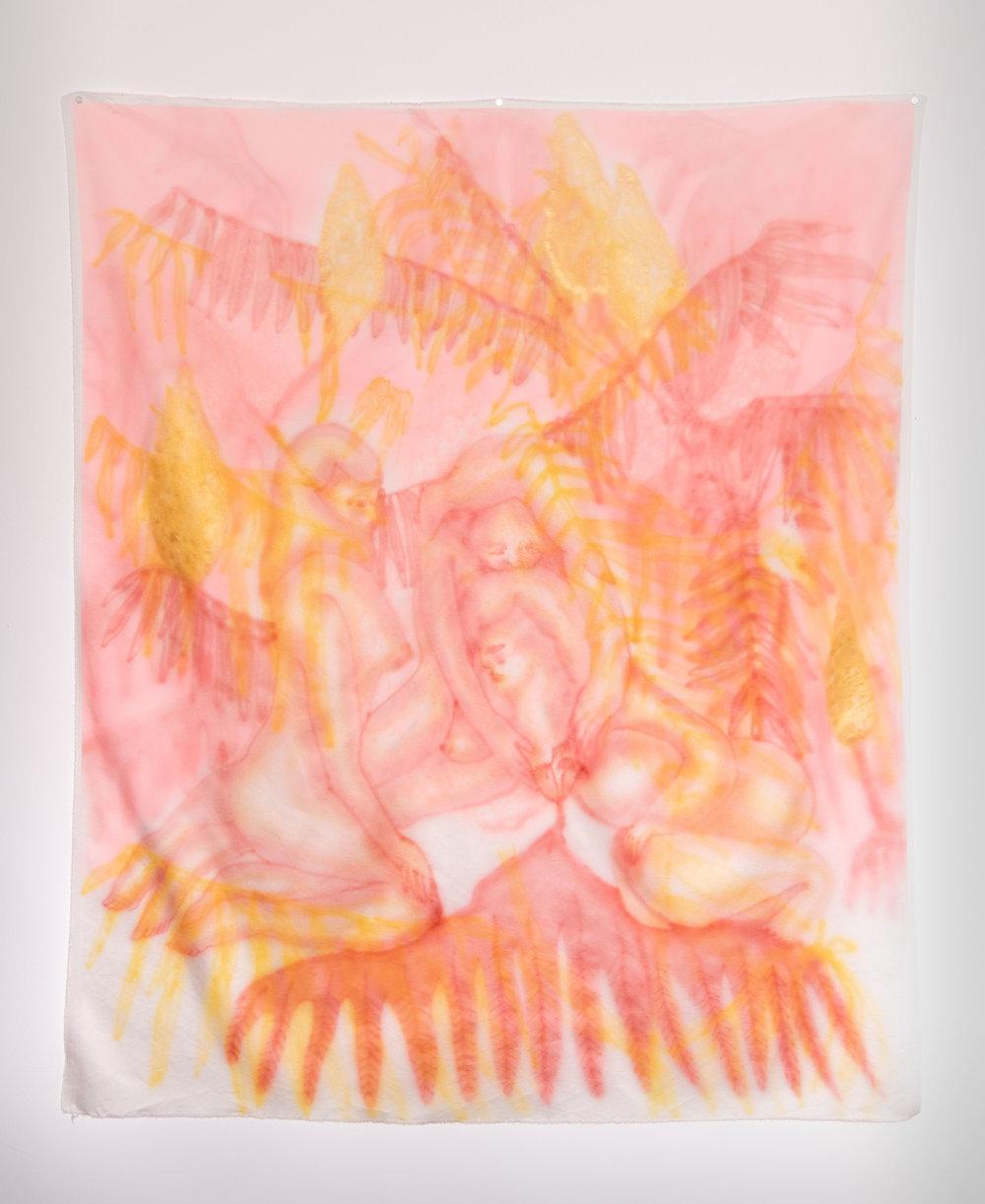 "Sumac Lemonade , Airbrushed Silk, 45"" x 53"", 2018"