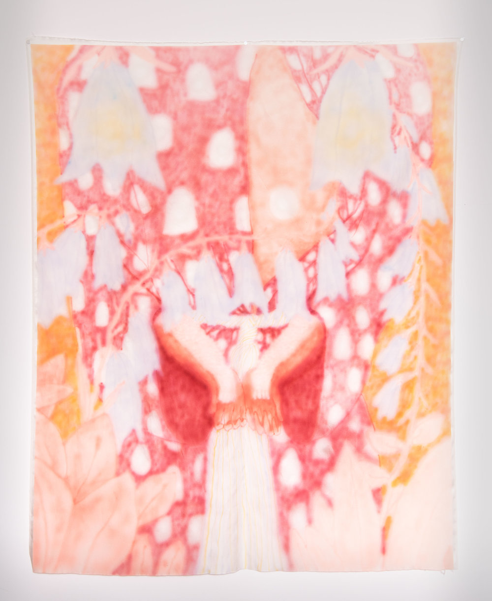 "Harebells , Airbrushed Silk, 45"" x 53"", 2018"
