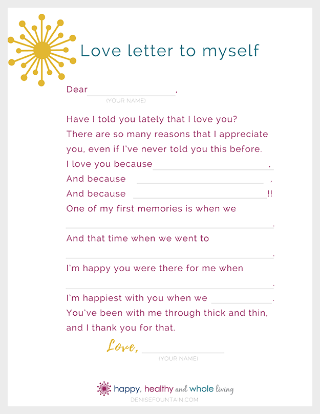 Download this free printable Love letter to yourself!