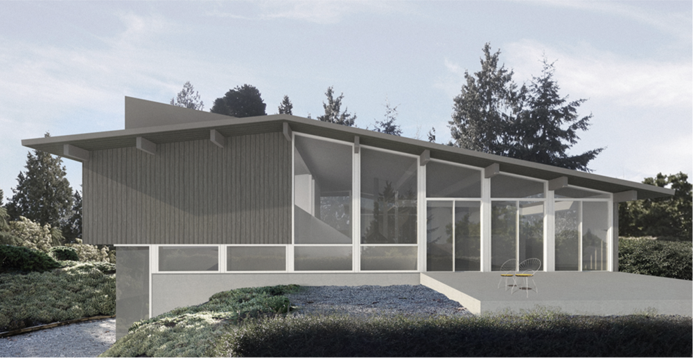 """CHANCELLOR BLVD  Restoration of this historic 1953 mid-century modern """"Friedman House"""" in University endowment lands. Original 2225 square foot structure was designed by swiss architect Fred Lasserre with 2 level sub terrain designed by D'Arcy Jones Architecture."""